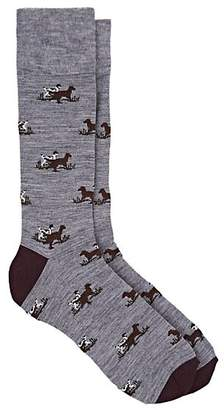 Corgi Men's Dog-Pattern Wool-Blend Mid-Calf Socks - Gray