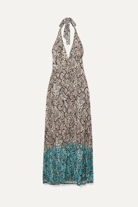 Heidi Klein Mombasa Snake-print Jersey Halterneck Maxi Dress - Gray