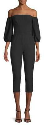 BCBGMAXAZRIA Off-Shoulder Crepe Jumpsuit