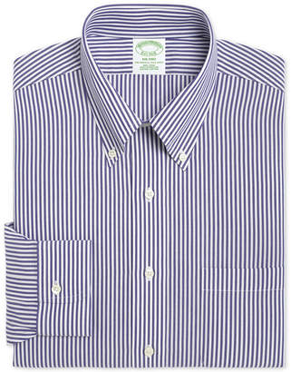 Brooks Brothers Men Milano Extra-Slim Fit Non-Iron Broadcloth Blue Bengal Stripe Dress Shirt