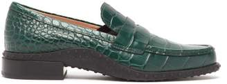 Tod's Gommini Crocodile Effect Leather Loafers - Womens - Dark Green