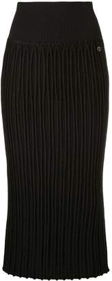 Chanel Pre-Owned ribbed fitted midi skirt