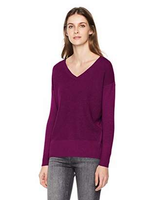 True Angel Women's Long Sleeve V-Neck Texture Front Pullover L