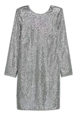 H&M Sequined Dress - Silver-colored - Women