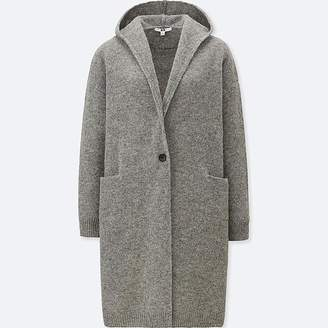 Uniqlo Women's Wool Hooded Knitted Coat