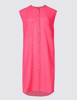 Marks and Spencer Pure Cotton Dipped Hem Shirt Dress