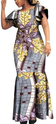 5bf337a7868 Winwinus Women Party Plus Size African Print Dashiki Batik Slim Maxi Dress  5XL