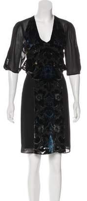 Anna Sui Velvet Trimmed Knee-Length Dress w/ Tags