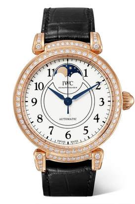 IWC SCHAFFHAUSEN - Da Vinci Automatic Moon Phase 36mm 18-karat Red Gold, Alligator And Diamond Watch - Rose gold