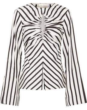 SOLACE London Musette Cutout Gathered Striped Cotton Top