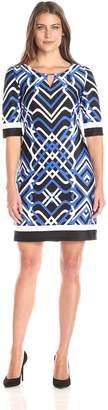 Sandra Darren Women's Short Sleeve Printed Dress with Keyhole