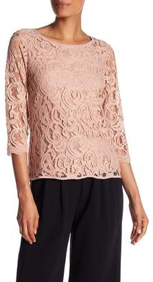 Adrianna Papell 3\u002F4 Length Sleeve Lace Blouse