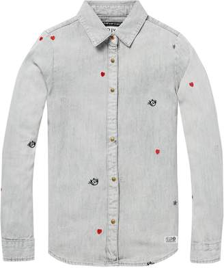 Scotch & Soda Embroidered Denim Shirt Felix the Cat