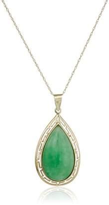 14k Yellow Gold Jade Teardrop Greek Key Pendant Necklace