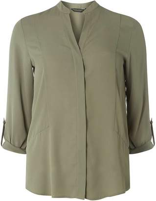 Dorothy Perkins Womens Khaki Seamed Roll Sleeve Shirt