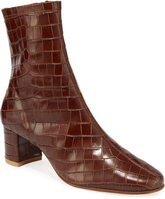 BY FAR Sofia Croc-Embossed Leather Booties