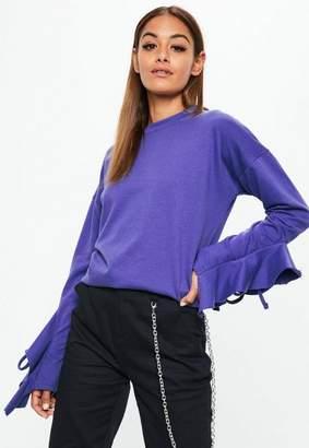 Missguided Purple Frill Detail Sleeve Sweatshirt