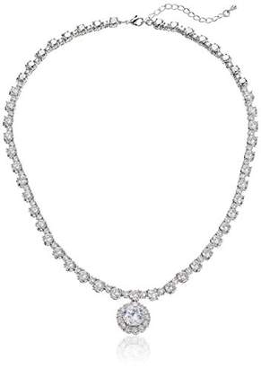 Nina Dublyn Classic Cubic Zirconia with Haloed Pendant Collar Necklace