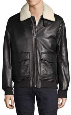 Michael Kors Leather & Lamb Shearling Flight Jacket