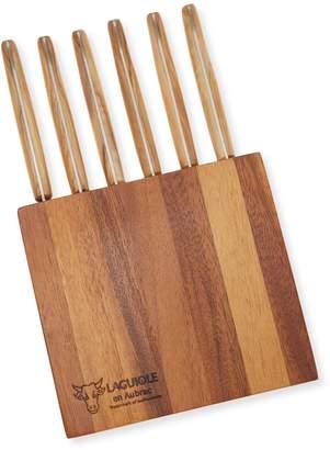 Laguiole en Aubrac Acacia block with 6 everyday table knives
