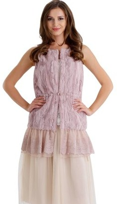 MELODY Women Fashion Faux Fur Round Neck Vest with Lace Bottom (PINK, SMALL)