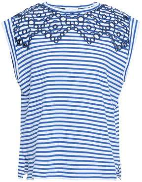 b25daed8421f55 Sandro Broderie Anglaise Striped Cotton-jersey Top