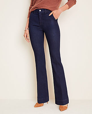 Ann Taylor Petite Flare Trouser Jeans in Classic Rinse Wash