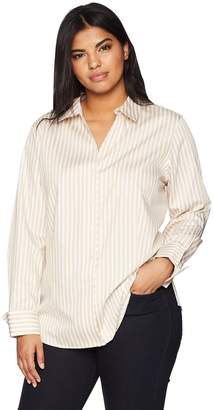 6e4116b72e5 Foxcroft Women s Plus-Size Lauren Sateen Stripe Non Iron Shirt
