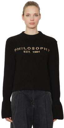Philosophy di Lorenzo Serafini Logo Printed Virgin Wool Knit Sweater