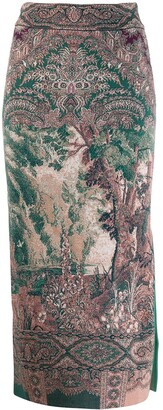 Etro printed pencil midi skirt