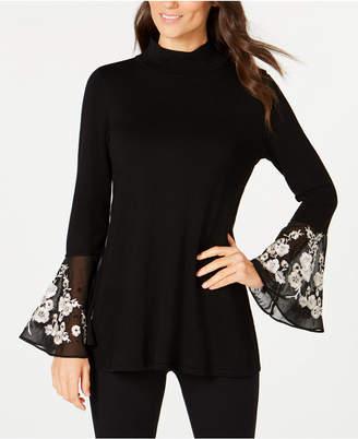 Alfani Embroidered Flared-Cuff Sweater
