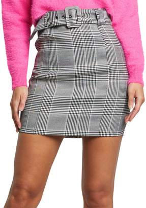 Bardot Belted Check Mini Skirt