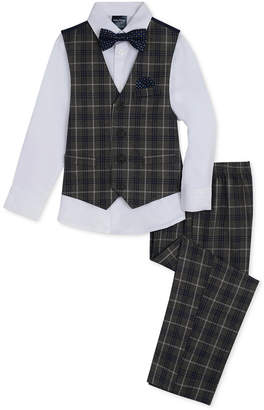 Nautica Little Boys 4-Pc. Windowpane-Print Vest, Pants, Shirt & Necktie Set