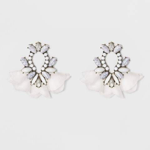 SUGARFIX by BaubleBar Mixed Media Drop Earrings with Tulle - Gray