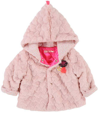 Billieblush Faux-Fur Heart Quilted Jacket, Size 2-3