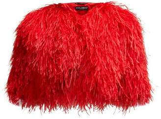Dolce & Gabbana Cropped Feather Bolero Jacket - Womens - Red
