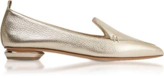 Nicholas Kirkwood Beya Metallic Platino Tumbled Leather Loafers