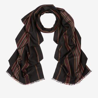 Bally Cashmere-Silk Stripe Scarf Black, Men's cashmere and Cambodian silk blend scarf in multi-black