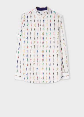 Paul Smith Women's Slim-Fit White 'People' Print Poplin Cotton Shirt