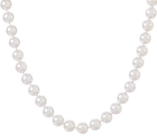 Sterling Silver Shell Pearl Necklace White - 18