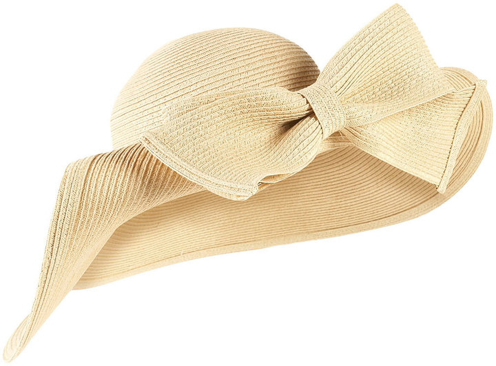 Natural Straw Squashed Bow Floppy Hat