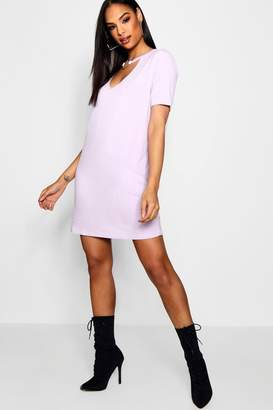 boohoo Oana O-Ring Choker Plunge T-Shirt Dress