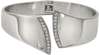 Steel By Design Stainless Steel Crystal Hinged Cuff