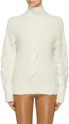 Theory Boucle knit oversized turtleneck sweater