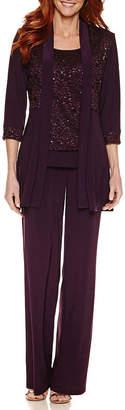 R & M Richards R&M Richards 3/4 Sleeve Lace Jacket Pant Set