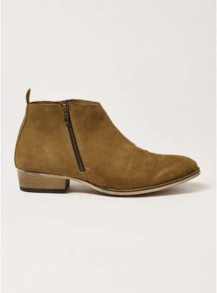 Topman Mens Brown Tan Suede Mount Zip Boots