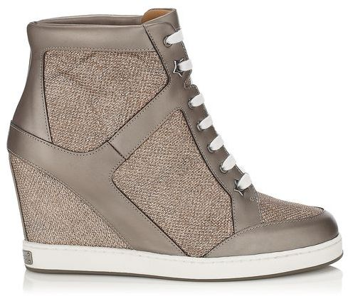 Jimmy Choo Preston Lamé Glitter and Metallic Leather Wedge Sneakers