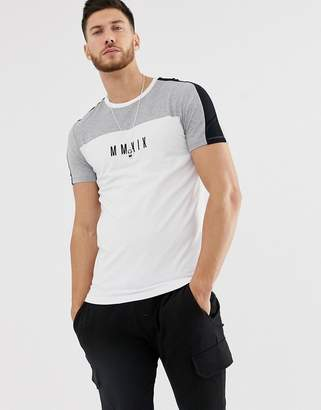 Asos Design DESIGN skinny t-shirt with colour block and roman numerals print