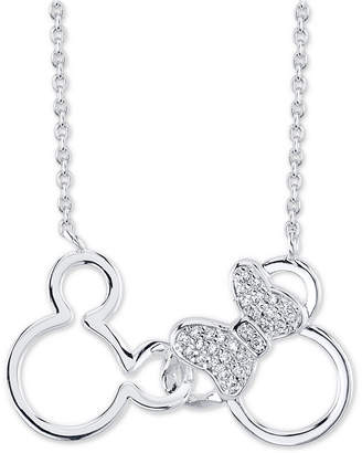"Disney Crystal Pendant Necklace in Silver-Plate, 16"" + 2"" extender"