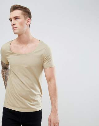 BEIGE Asos Design ASOS DESIGN t-shirt with deep scoop neck in